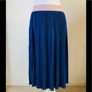 LuLaRoe blue accordion maxi pleated skirt L